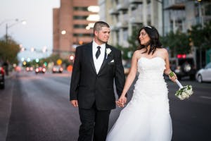 Wedding tux and gown