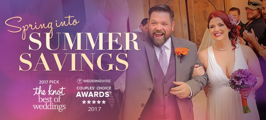 Excited Newlyweds - The Knot & Wedding Wire Best of Pick for 2017 - Summer Savings Graphic