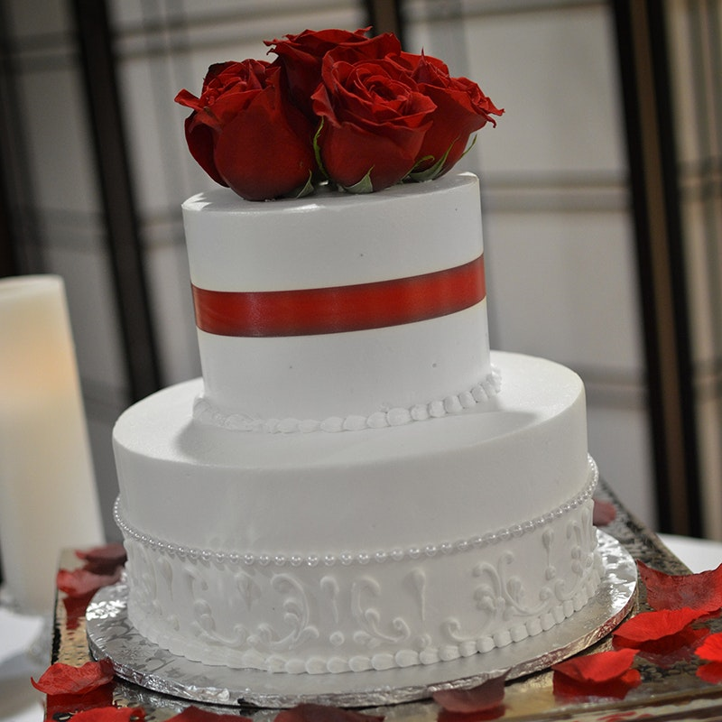 modern elegance two tier wedding cake
