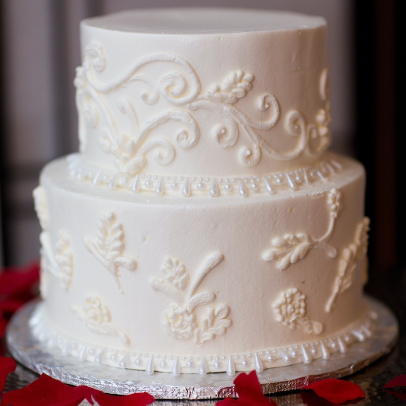 Glamorous Pearls And Lace Two Tier Wedding Cake Square