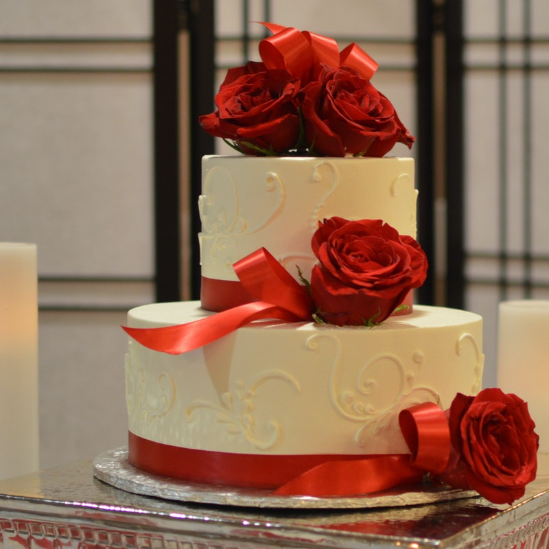 Swirled Elegance Two Tier Wedding Cake