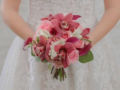 Genevieve - calla lilies, orchid and rose bouquet.