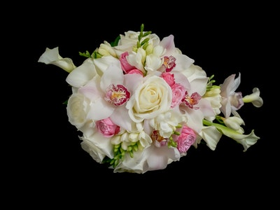 Lady Diana- Cascade Bouquet with roses, freesia, calla lilis, orchids and hanging amaranths