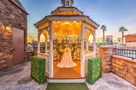 Outdoor wedding chapel in las vegas vegas weddings the terrace gazebo twinkle lit junglespirit Gallery
