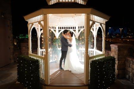 Las vegas elopement packages vegas weddings dancing in the terrace gazebo wedding venue at night junglespirit Gallery