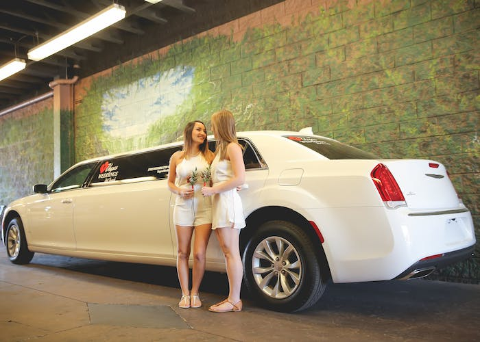 Brides in front of the limo in the tunnel