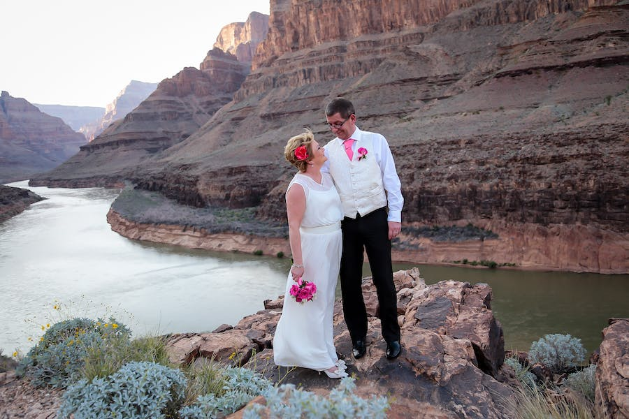 Newlyweds By The River In Grand Canyon