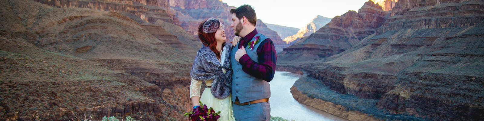 A Radiant And Super Fashionable Bride With Her Husband At The Floor Of Grand Canyon