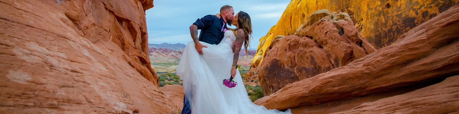 Incredibly colorful sunset wedding at the Valley of Fire