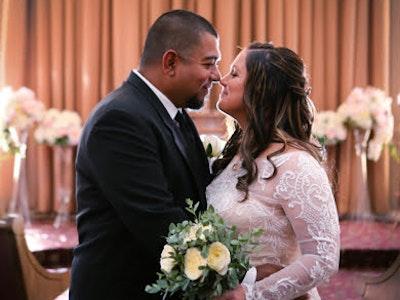 Couple at their Vegas chapel wedding