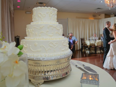 A decorated wedding cake in The Reception Hall - Reception Package Graphic